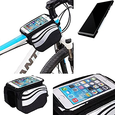 For Turing Robotic Industries Turing Phone: Cycling Frame Bag, Head Tube Bag, Front Top Tube Frame Pannier Double Bag Pouch Holder Crossbar Bag, black-silver water resistant -