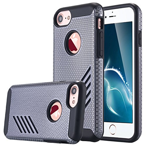 iPhone 7 cellulare, iPhone 7 Case, lontect Hybrid Dual Layer Grip per sottile antiurto impact per cellulare Cover per Apple iPhone 7 Grigio / nero