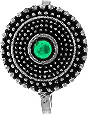 Anuradha Art Green Colour Classy Round Shape Designer Without Piercing On Nose Ring/Pin for Women/Girls