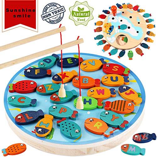 Sunshine smile angelspiel Kinder,Fische Angeln Spiel magnetisch,Holz Magnetische Angeln Spielzeug,Holz Magnetische Angelspiel,2 In 1 Angelspiel 32 STÜCKE...