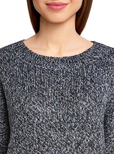 oodji Ultra Damen Melange-Pullover mit Fledermausärmeln Schwarz (2974M)
