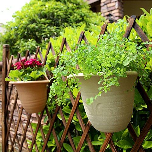 Sungmor Garten 2PC PACK Wandbehang Pflanzer, Verdickter Kunststoff Wasserspeicher Blumentöpfe, Indoor Outdoor Geländer Zaun Dekorative Pflanzen Container Halter