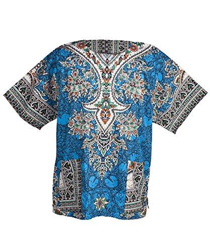 Lofbaz - Unisex Dashiki - Traditionelles Oberteil mit afrikanischem Druck Ethnic Blau