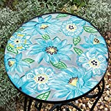 Glass Garden / Patio Table with Metal / Iron Base and Blue & Green Flower / Floral Pattern Top