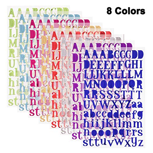SIMUER 8 Blätter Alphabet Buchstaben Aufkleber Selbstklebende Fun Stickers-adesivi Deko für Grußkarten Aufkleberbogen 8 Farben (Buchstaben Selbstklebende)