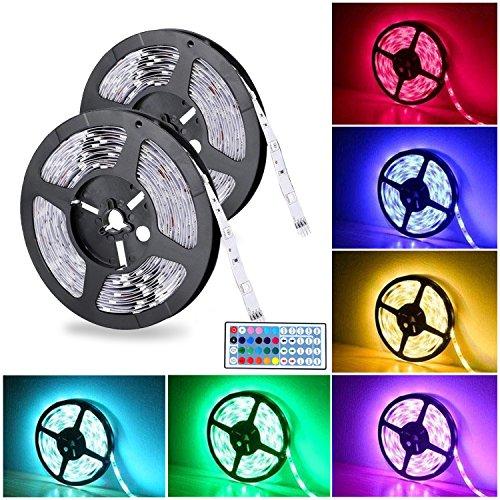 LED Streifen 2×5m Badalink Led Stripes IP65 5050 RGB 300 SMDs mit Fernbedienung Lichtband für Weihnachten Party