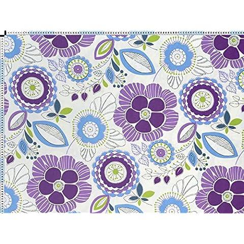 Tessuto da tappezzeria, rivestimento in tessuto, tessuto da tappezzeria, tessuto, tessuto della tenda, tessuto - Fina, viola blu - moderno felice fiori-stampa su tessuto