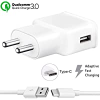 Fast Type C Charger for Samsung Galaxy A20 Charger Original Adapter Like Mobile Charger | Power Adapter | Wall Charger | Fast Charger | Android Charger | Battery Charger Hi Speed Travel Charger With 1 Meter USB Type C USB Charging Data Cable (3.1 Amp White)