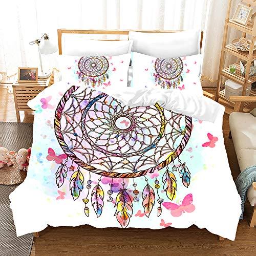 MOUMOUHOME Aquarellfarben Traumfang Bettwäsche Set,3D Druck Fliegender Schmetterling Mikrofaser Bettwäscheset,2 Stück mit 1 Kissenbezug Weiß/Pink/Blau,Keine Bettdecke -