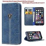 iDoer iPhone 6S Plus Hülle Hochwertig handyhülle iPhone 6 Plus mit klappe tasche schutzhülle Handys Schutz Hülle PU Leder magnet handytasche bookstyle Flip Case für Apple iPhone 6 6S Plus 5.5 Zoll mit Ständer - Blau