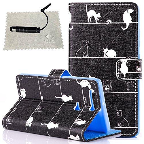 Custodia per iPhone 5S in Pelle,TOCASO Gatto Premium di Cuoio del Raccoglitore Cover per iPhone SE/5S Sottile Custodia Stile Libro Portafoglio Colorato Flip Wallet Case Supporto Funzione Modello Color Black Cat
