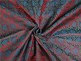 Brokat Stoff rot, grün X blau Farbe 111,8cm Zoll