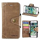 iPhone 7 Hülle, Lensun Echt Lederhülle Wallet Stand Flip
