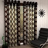 #10: Home Sizzler 2 Piece Eyelet Polyester Window Curtain Set - 5ft, Brown