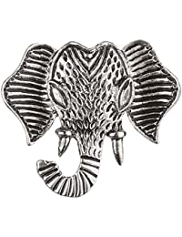 TRIPIN SILVER CLASSIC ELEPHANT FACE DESIGN LAPEL PIN BROOCH FOR MEN WOMEN