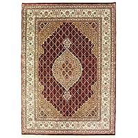 Indo Täbriz Teppich 80 x 300 cm Handgeknüpft Medaillon, Schurwolle, Rot