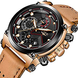 LIGE Mens Watches Military Sports Chronograph Analog Quartz Watch Gents Waterproof Business Dress Wristwatch