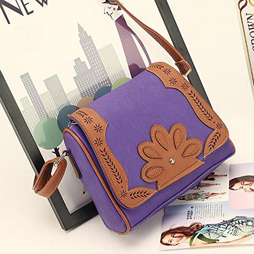 Damen Kunst Leder Handtasche Schultertasche Hohl Muster Umhängetasche Geldbörse Messenger Tote Violet