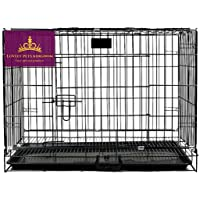 Lovely PET'S KINDOM-Double Door Folding Metal cage with Removable Tray and paw Protector for Dogs,Cats and Rabbits-24…