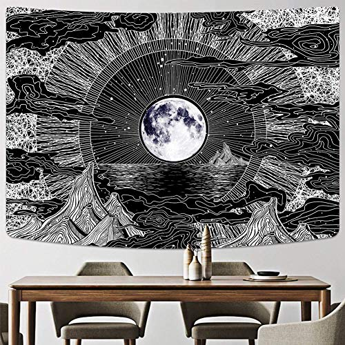 Wall Hanging Tapestry Stars, Retro Black & White Halloween Tapestry Home Decorations for Living Room Bedroom Dorm Decor