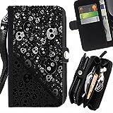 Graphic4You Skull Death Theme Muster Design Zipper Brieftasche mit Strap Hülle Tasche Schale Schutzhülle für Samsung Galaxy S6 Active