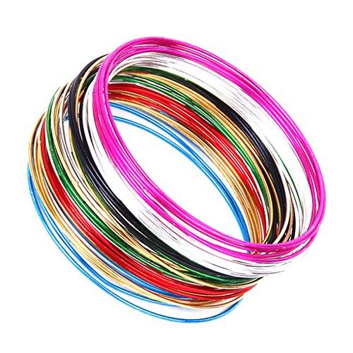 50 Stück 1mm dünnen multicolor Hoop Armband Stulpe Armband Damen Modeschmuck (Handgelenk-stulpe-armband)