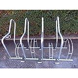 Melzer Metallbau Fahrradständer mit Anlehnbügel - 4 Einstellplätze - feuerverzinkt - Anlehnbügel für Fahrräder Bügelparker Fahrradanlehnbügel Fahrräderständer Reihenständer