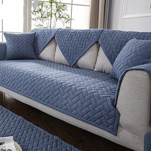 Dw&hx copertura divano cotone trapuntato fodera per divano copridivano copertine componibile retro antiscivolo antimacchia colore puro sofa protettore cuscino copre per salotto -blu navy 110x240cm(43x94inch)