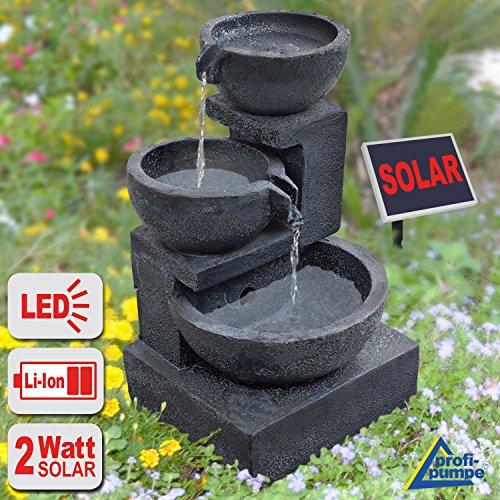 """GARTENBRUNNEN BRUNNEN Solar BRUNNEN ZIERBRUNNEN VOGELBAD WASSERFALL GARTENLEUCHTE TEICHPUMPE - SPRINGBRUNNEN WASSERSPIEL für Garten, Gartenteich, Terrasse, Teich, Balkon, sehr DEKORATIV, VERBESSERTES MODELL MIT PUMPEN-INSTANT-START-FUNKTION SOLARTEICHDEKORATION, GARTENDEKO, LED-Solar-Set Wasserbrunnen """"GRANITSCHALEN-KASKADE"""" mit LiIon-Accu und LED-Beleuchtung"""