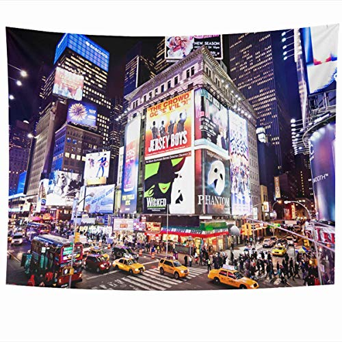 Tapisserie Tapestry Wall Hanging Art 60 x 50 Inches Street York Newyork January 6 Illuminated Facades Broadway New Time City Night Theater District Home Tapestries Office Bedroom Living Room Dorm -