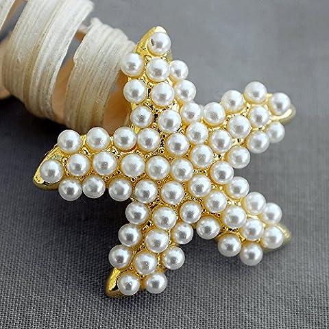 5Gold Pearl Broche Bouton Décoration Cristal étoile de mer de mariage Strass Broche Bouquet d'invitation Décoration de gâteaux Bt601
