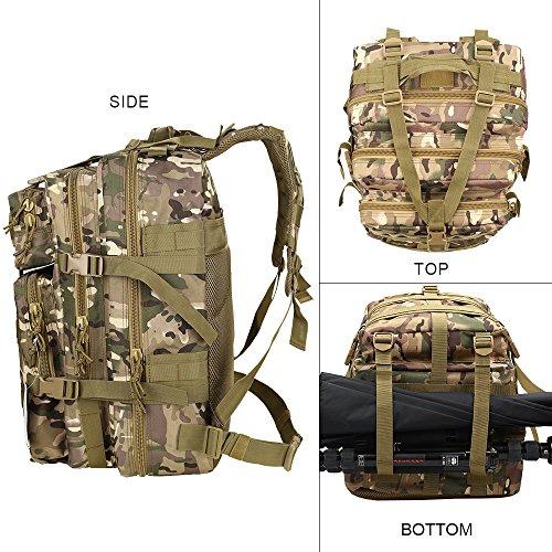 HUKOER Zaino da montagna tattico - zainetto da escursione tattico alla moda, 35L, molti colori, resistente all'acqua sportivo casuale, molle velcro per il trekking, i viaggi e la caccia (Nero) CP-45L