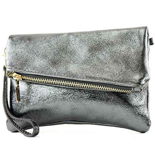 modamoda de -. ital petites dames de sac d'épaule de sac en cuir d'embrayage poignet Sac en cuir T95, Präzise Farbe (nur Farbe):Anthrazit-Metallic