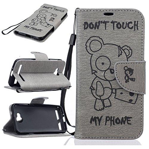 Nancen Compatible with Handyhülle Huawei Y3 II / Y3 2 Hülle, [Bär - Don't Touch My Phone] Serie Weich Leder Handyhülle Tasche Wallet Flip Case Book Cover Etui