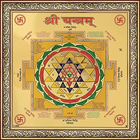 Avercart Sri Yantra / Shree Yantra / Shri Yantra / Good Luck and Prosperity / Blessed and Energized Divine Shield Poster 22x22 cm with Photo Frame (9x9 inch