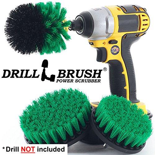 Drillbrush Dreiteiliger Medium Power Bürste Sets für Wasch- oder Spülbecken, Arbeitsplatten, Öfen, Öfen und viele mehr Küchenreinigung Anwendungen grün
