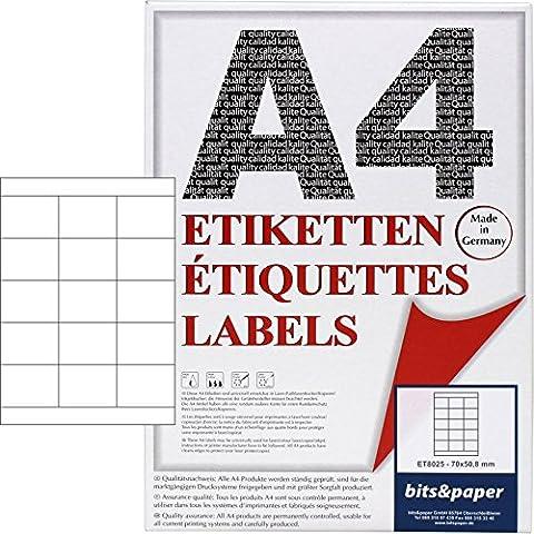bits&paper ET8025L Universal-Etiketten (70 x 58,8 mm, 1500 Etiketten, Papier matt, A4) 100 Blatt weiße Etiketten