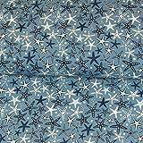 Baumwolljersey Seesterne Jeansblau Kinderstoffe Sterne