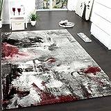 PHC Teppich Modern Designer Teppich Leinwand Optik Meliert Schattiert Grau Rot Creme, Grösse:160x230 cm