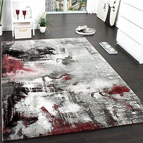 Teppich Modern Designer Teppich Leinwand Optik Meliert Schattiert Grau Rot
