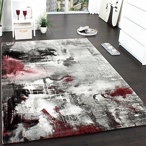 Paco Home Teppich Modern Designer Teppich Leinwand Optik Meliert Schattiert Grau Rot Creme, Grösse:120x170 cm