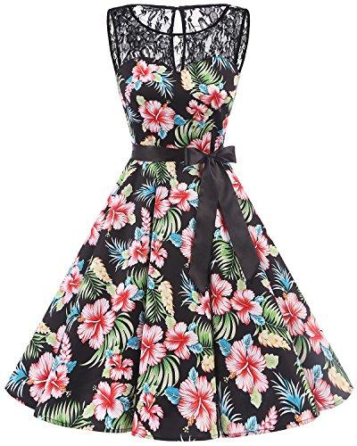 bbonlinedress 1950er Ärmellos Vintage Retro Spitzenkleid Rundhals Abendkleid Black Flower 2XL