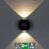 Modern LED Außenwandleuchte, Schwarz Kreative Wandlampe, Runden Design Strahler, Minimalistischen Innen und Außen Wandspot, 2×3W, 560 Lumen, Weiß-Licht, Glas Lampenschirm (B)