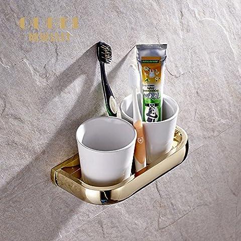 In acciaio inox a doppio sostegno di spazzolino da denti (montato a parete) Bagno Portaspazzolini (Ceramica Cartuccia Del Cuscinetto)