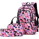 Bansusu 3Pcs Geometric Prints Primary School Student Satchel Shoulder Schoolbag for Middle School Girls Boys Backpack…