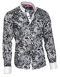 Louis Binder de Luxe Herren Hemd Shirt weißer Kragen weiße Manschetten figurbetont modern fit 100% Baumwolle Satin Langarm schwarz Paisley XL 44