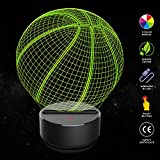Basketball 3D Illusion Lampe ,COLORFUL 3D Optical Illusion Lampe LED Nachtlichter, 7 Farbwech Einzigartige Lichteffekte ,für Kinder Geschenk Home Decor