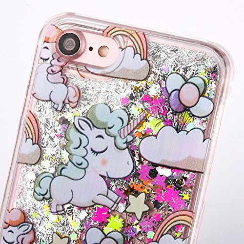 iPhone 7 Plus Hard Case Hülle,iPhone 7 Plus Glitzer Hülle,iPhone 7 Plus Transparent Hülle,iPhone 7 Plus Crystal Clear Case Hülle Klare Cristall Liquid Bling Schutzhülle Etui für iPhone 7 Plus 5.5 Zoll A Unicorn Liquid 4