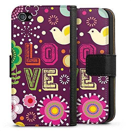 Apple iPhone X Silikon Hülle Case Schutzhülle Love 60s Hippie Bunt Sideflip Tasche schwarz