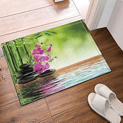 fdswdfg221 Spa Decor Zen Stones Aromatische Orchideen Blüten Behandlung Urlaub Bad Teppich Rutschfeste Bodeneingänge Outdoor Indoor Haustür Matte, 60x40cm Badematte Bad Teppiche